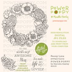 Peony Love Digital Stamp Set