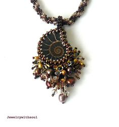 Chocolate bead embroidery ammonite shell by jewelrywithsoul, $89.00