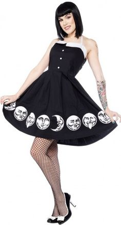 This Blame Betty favourite style has a rad lunar update, the Moon Faces Spooksville Dress! Made out of a breathable cotton fabric, it has a great fit that is flattering on all body types.