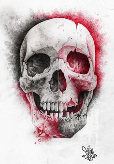 skull made by HB2 pencil and red roll pen