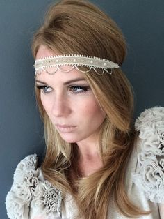 Beige Ecru 1920 Great Gatsby Headband  Beige by Miss S-a Headbands