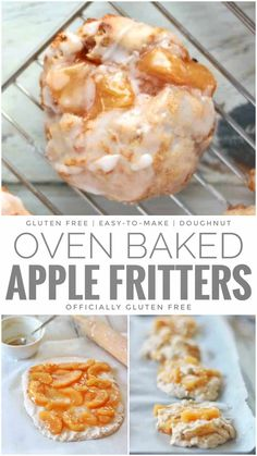 Oven Baked Apple Fritters Gluten Free Recipe that uses Gluten Free Tea Biscuit Dough and Apple Pie Filling Gluten Free Doughnuts, Gluten Free Sweets, Eating Gluten Free, Gluten Free Apple Cake, Gluten Free Pie, Baked Doughnuts, Gluten Free Cakes, Gf Recipes, Dairy Free Recipes