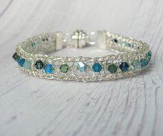 Sterling Silver BRACELET, Multicolor Swarovski Crystals. Wire Crochet Bracelet