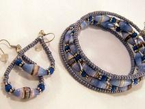 Armband-Ohrringe-Set blau-grau