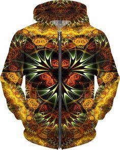 NBK Gold Terminator Custom Rave Rebel Revolution Style Zip Hoodie by Willy Badu.