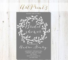 Printable Bridal Shower Invitation, Grey Bridal Shower Invitation, Floral Wreath Bridal Shower Invitation, Rustic Bridal Shower Invitation