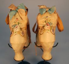 LADY'S EMBROIDERED SILK HIGH BACK SHOES with LACES, 1880's.