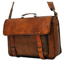 "Vintage Leather Laptop Bag, Messenger Bag for Men & Women. 13"" x 17.5"" x 5"""