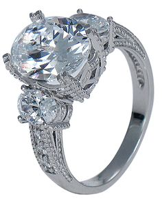 MY FAVORITE Ovalesque Three Stone Oval Estate Antique Style Ring By Ziamond