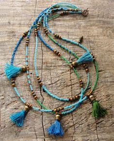 Bohemian Multi Layer Tassel Necklace Bohemian Dreams Teal | Etsy Beaded Tassel Necklace, Opal Necklace, Beaded Jewelry, Turquoise Necklace, Beaded Bracelets, Handmade Jewelry, Textile Jewelry, Wrap Bracelets, Clay Jewelry