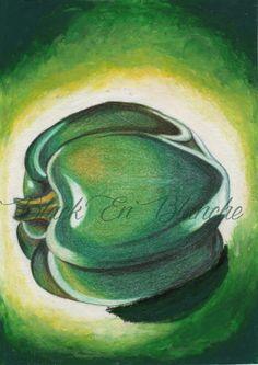 Green Pepper Art Print Pastel & Pencil by DesignsbyZ Creations BlackEnBlanche