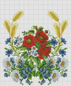 View album on Yandex. Cross Stitch Embroidery, Embroidery Patterns, Hand Embroidery, Cross Stitch Patterns, Carpet Design, Cross Stitch Flowers, Red Poppies, Needlework, Diy And Crafts