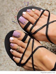 Pedicure designs purple toenails pretty toes Ideas for 2019 Pretty Toe Nails, Cute Toe Nails, Cute Toes, Pretty Toes, White Manicure, Pedicure Nails, Black Pedicure, Pedicure Designs, Toe Nail Designs