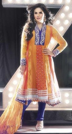 $102.87 Orange Full Sleeve Faux Georgette and Net Long Bollywood Salwar Kameez 20412