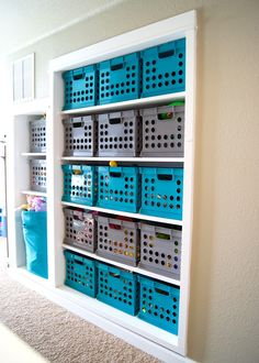 Toy Storage using Target Milk Crates and a Hamper - Turquoise and gray