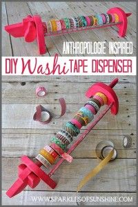 Washi Tape Crafts - Anthropologie Inspired Washi Tape Dispenser - Wall Art, Frames, Cards, Pencils, Room Decor and DIY Gifts, Back To School Supplies - Creative, Fun Craft Ideas for Teens, Tweens and Teenagers - Step by Step Tutorials and Instructions http://diyprojectsforteens.com/washi-tape-crafts