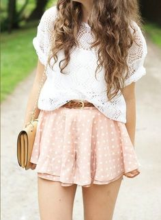 Dots summer outfits, girly outfits, teenage outfits, cute outfits, hi Look Fashion, Teen Fashion, Fashion Beauty, Womens Fashion, Fashion Trends, Fashion Ideas, Fashion 2016, Spring Fashion, School Fashion