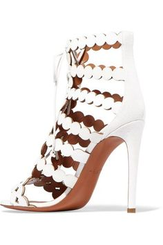 Alaïa - Laser-cut Leather And Suede Sandals - White - IT38.5