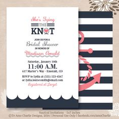 Tying the Knot Nautical Bridal Shower Invitations - Modern Nautical Invitations