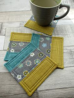 Quilted Fabric Coasters - Quilted Patchwork Mug Mats - Retro Inspired Quilting - Handmade Drinks Coasters