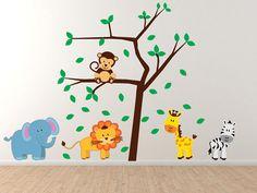 Animal Cartoons and tree   Nursery Wall decals by WallJems.
