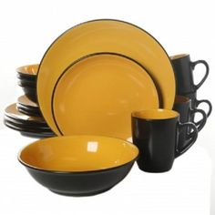 Shop for Gibson Vivendi Black/ Yellow Stoneware Dinnerware Set (Service for Get free delivery On EVERYTHING* Overstock - Your Online Kitchen & Dining Outlet Store! Yellow Dinnerware, Dinnerware Sets For 12, Modern Dinnerware, Square Dinnerware Set, Stoneware Dinnerware, Gibson Home, Dining Ware, Dining Room, Kitchenware