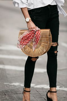 Cult Gaia Ark Bag Red Bandana Black Ripped Skinny Jeans Street Style Outfit