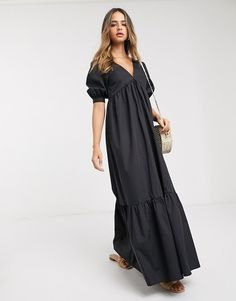 Browse online for the newest ASOS DESIGN Tall cotton poplin v front v back tiered maxi dress in black styles. Shop easier with ASOS' multiple payments and return options (Ts&Cs apply). Asos, Tall Women, Poplin, Latest Trends, Cold Shoulder Dress, Skirts, Cotton, Shopping, Black