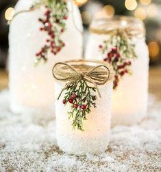 Easy DIY Christmas decor ( candle holder) from mason jar & salt // Egyszerű karácsonyi mécsestartó befőttesüvegből sóval // Mindy - craft tutorial collection // #crafts #DIY #craftTutorial #tutorial #ChristmasCrafts #Christmas #Karácsony