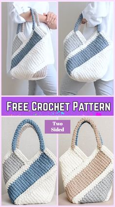 T-shirt Yarn Tunisian Crochet Ten Stitch Handbag Free Crochet Pattern-Video Tunisian Crochet Ten Stitch Handbag Free Crochet Pattern-Video: crochet two sided handbag, easy handbag tunisian crochet Crochet Simple, Free Crochet Bag, Crochet Shell Stitch, Crochet Gratis, Crochet Tote, Crochet Handbags, Crochet Purses, Knit Or Crochet, Crocheted Bags