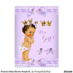 Princess Baby Shower Purple Rose Lace Brunette Bab 5x7 Paper Invitation Card
