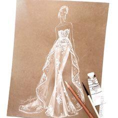 Brooke Hagel bridal fashion illustration inspired by @marchesafashion fall 16'