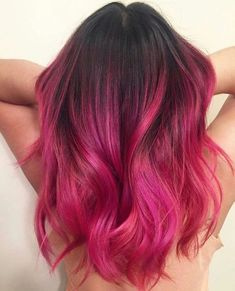 Style-To-Try-Now/ bright pink hair, magenta hair, hair color pink, red Gold Hair Colors, Hair Color Pink, Hair Dye Colors, Hair Color Shades, Orange Ombre Hair, Magenta Hair Colors, Dyed Hair Ombre, Purple, Dark Pink Hair