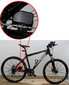 Bicycle Chain Charger to USB - Dynamo, 1000mAh =====> Using pedal power to generate power for the battery, this gadget charger uses simply green technology to give you a battery charger for all your devices whilst you are out on the road. Lightweight ABS plastic device won't add weight to your bike