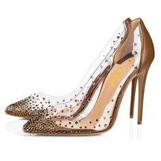 Classy, Elegant Brown Clear Heels Rhinestones Stiletto Heel Pumps you best choice for Work, Date -TOP Design by FSJ Work Pumps, High Heel Pumps, Pumps Heels, Stiletto Heels, Sexy Heels, Flat Shoes, New Shoes, Wedge Shoes, Women's Shoes