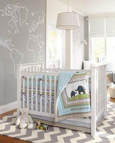 chambre bébé garçon décorée en gris et blanc
