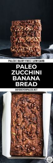 Paleo Zucchini Banana Bread - Combining the two popular quick breads into one low sugar treat! If you cant decide between zucchini bread and banana bread, this gluten free recipe is the way to go. Its the perfect fall treat! Paleo Recipes Easy, Quick Bread Recipes, Real Food Recipes, Dessert Recipes, Lunch Recipes, Free Recipes, Dinner Recipes, Banana Bread French Toast, Zucchini Banana Bread