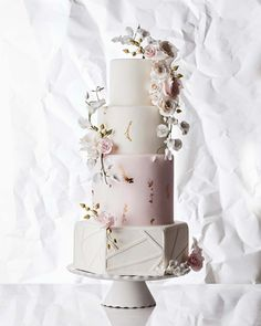 Floral Wedding Cakes Four Unique Takes On The Traditional White Wedding Cake Blush Wedding Cakes, Elegant Wedding Cakes, Beautiful Wedding Cakes, Wedding Cake Designs, Beautiful Cakes, Wedding Cake Toppers, Unique Weddings, Blush Weddings, White Weddings