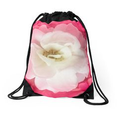 White Rose with Pink Leaves #drawstring #bag by DFLC Prints