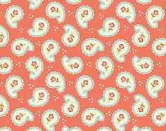 Paisley Calliope Coral Quilting Fabric by Stitch Studios Cyndi Walker for Riley Blake Designs - 1 yard