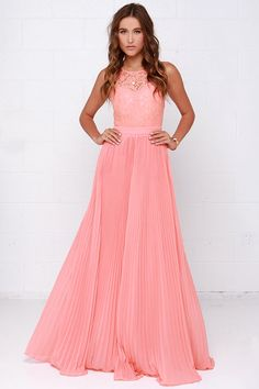 Say You Will Peach Lace Maxi Dress at Lulus.com!   If you want to stick with the peach.