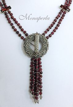 Two-strand strung necklace with elegant peyote toggle by Monaperla