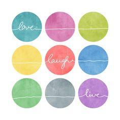 Love Laugh Live 2 Art Print by Mareike Böhmer Graphics