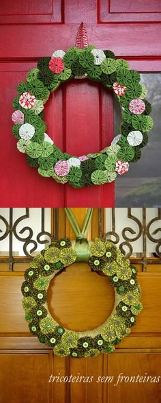 Guirlandas de natal com fuxico Wreath Crafts, Diy Wreath, Christmas Projects, Holiday Crafts, Xmas Wreaths, Christmas Decorations, Christmas Ornaments, Christmas Makes, Christmas Holidays