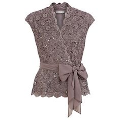 so pretty with a light blue jean skirt     Buy Jacques Vert Sequin & Lace Crossover Top, Brown Online at johnlewis.com
