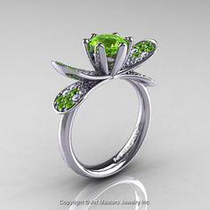 14K White Gold 1.0 Ct Peridot Diamond Nature by DesignMasters, $1229.00