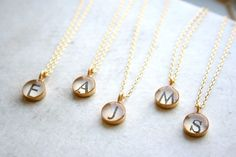 Gold monogram necklace set for bridesmaids