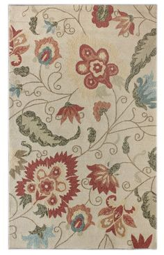 Rugs USA Hacienda Outdoor Buoyant Ivory Rug [for the kitchen] Floral Area Rugs, Floral Rug, Carpet Shops, Classic Rugs, Transitional Decor, Transitional Kitchen, Indoor Outdoor Area Rugs, Outdoor Sofa, Rugs Usa