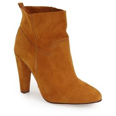 """Topshop'Hourglass' Ankle Bootie, 3 3/4"""" heel ($140) ❤ liked on Polyvore featuring shoes, boots, ankle booties, ankle boots, tan, suede bootie, high heel boots, tan boots, slip on boots and tan booties"""
