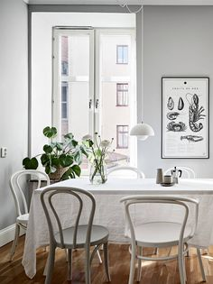 For my latest home tour I'm taking you to the Swedish city of Gothenburg for a peek at a beautiful grey and white apartment that's brimming with inspiration for simple spring styling. White Apartment, Fourth Wall, Gothenburg, House Tours, Grey And White, Chair, Interior, Walls, Inspiration